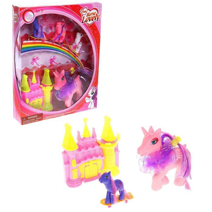Пони с замком и аксессуарами, в наборе 4 пони