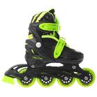 Роликовые коньки раздвижные, колеса PVC 64 мм, пластиковая рама, black/green р.34-37