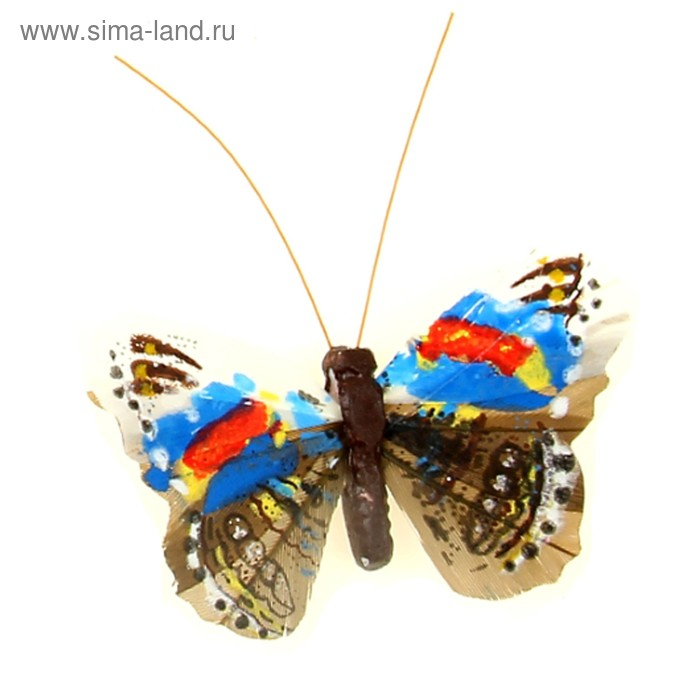 "Магнит бабочка перо ""Палитра"" МИКС"