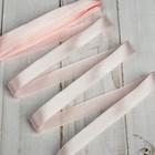 Лента атласная, 12мм, 5,4м, №004, цвет бледно-розовый МИКС