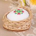 Игольница «Сердечко», с ручной вышивкой, микс, 8,5х6х3 см, ива