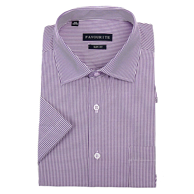 Сорочка приталенная мужская с коротким рукавом R107074s_FAV цвет фиолетовый, р-р 44 (182-188)   3694
