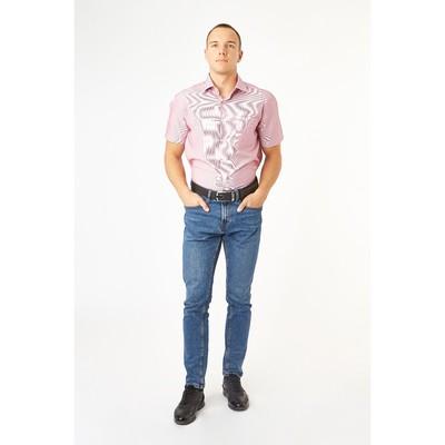 Сорочка приталенная мужская с коротким рукавом R111005s_FAV цвет красный, р-р 42 (170-176)