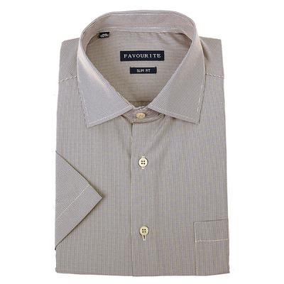 Сорочка приталенная мужская с коротким рукавом R417003s_FAV цвет бежевый, р-р 43 (182-188)