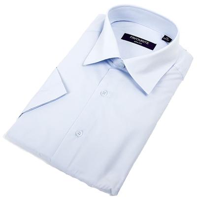 Сорочка приталенная мужская с коротким рукавом RDF0306s_FAV цвет голубой, р-р 41 (176-184)