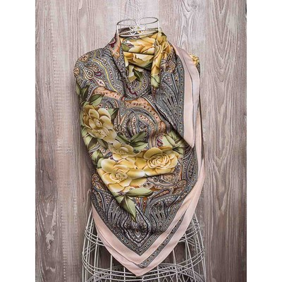 Платок женский, размер 100х100 см, K05100PL519 бежевый, персиковый