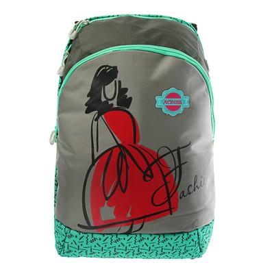 Рюкзак молодежный эргоном.спинка Across GL6 44*28*13 дев серый/зелёный ACR18-GL6-1