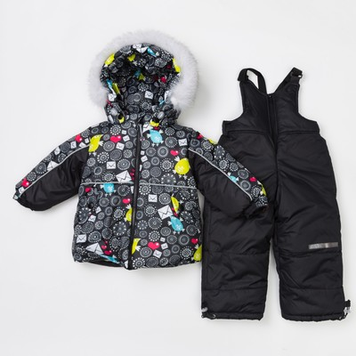 Комплект детский (Куртка + Полукомбинезон), рост 92 см, цвет чёрный(птички)