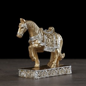 Сувенир полистоун 'Золотой конь в ажурной попоне' 7,5х8х3 см Ош