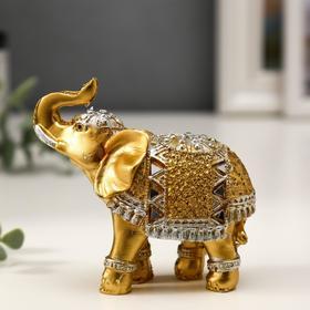 Сувенир полистоун 'Золотой слон в зеркальной попоне' 8,5х9,2х3,7 см МИКС Ош
