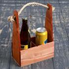 Переноска для 2 бутылок с верёвочной ручкой, 21х11,5х30,5 см, мокко
