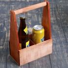 Переноска для 2 бутылок с деревянной ручкой, 21х11,5х30,5 см, мокко