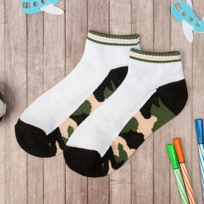 """Носки низкие для мальчика Collorista """"Камуфляж"""", размер 17 (6-8 лет), цвет белый/хаки"""