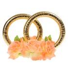 Кольца с цветами, малые, персик