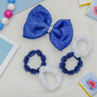 """Набор для волос """"Малютка"""" синий белый (4 резинки, 1 зажим) бант со стразами"""