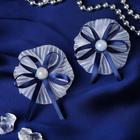"""Резинка для волос """"Первоклашка"""" (цена за пару) жемчужина с синим"""