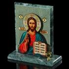 """Икона объёмная """"Иисус"""", серый фон, змеевик, с подсвечником"""