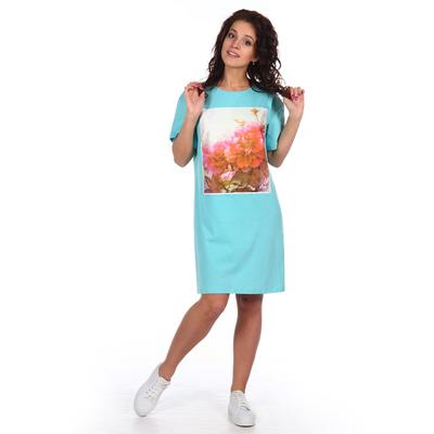 Платье женское Пионы цвет ментол, р-р 48
