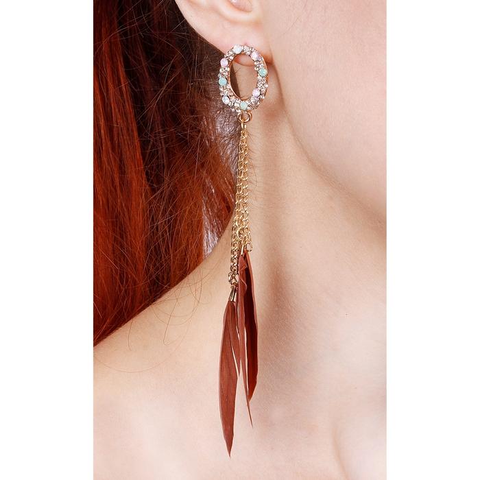 """Серьги перья """"Жар-птица"""" овал и три пера на цепочке, цвет коричневый"""