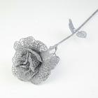 """Декор """"Сияние"""" розочка, 12*64 см, серебро"""