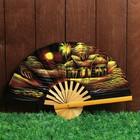 """Веер бамбук с блестками """"Домики в деревне"""" 25 см"""