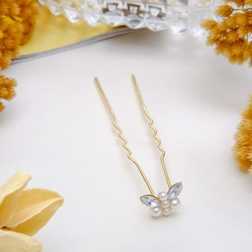 Шпилька для волос 'Бабочка' с жемчужиной, золото Ош