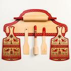 Набор кухонный со скалкой, 7 предметов, мезенская роспись