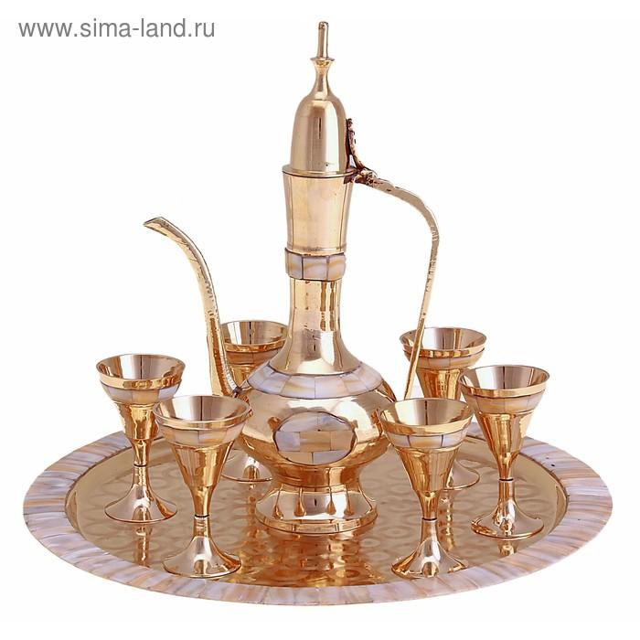 """Набор посуды с перламутровыми вставками """"Лунный свет"""": поднос, 6 чашек, чайничек"""