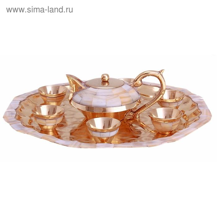 """Набор посуды с перламутровыми вставками """"Южные красоты"""": поднос, 6 чашек, чайничек"""