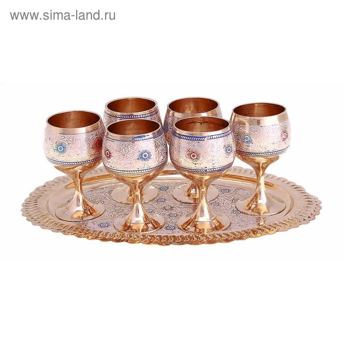 """Набор посуды с цветной эмалью """"Королевский прием"""": поднос, 6 бокалов"""