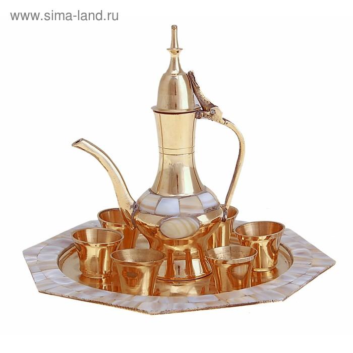 """Набор посуды с перламутровыми вставками """"Шик"""": поднос, 6 чашек, чайничек"""