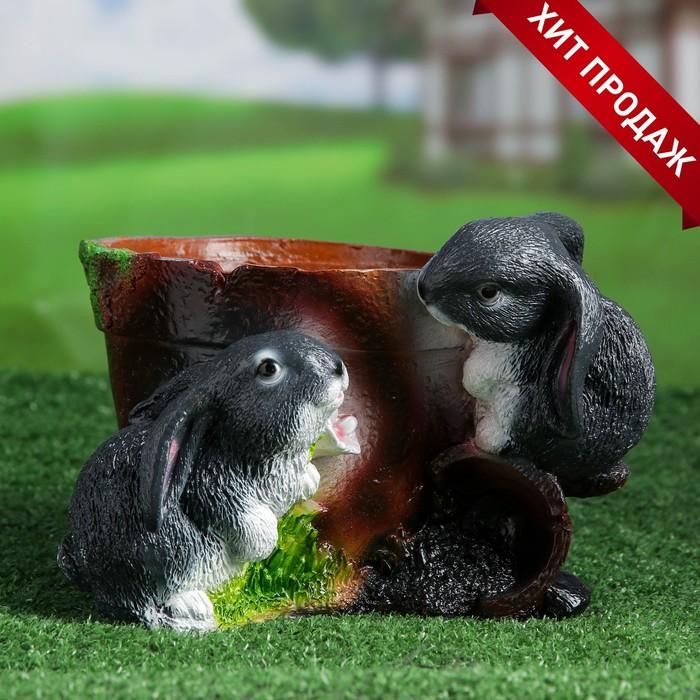 "Фигурное кашпо ""Два зайца"""