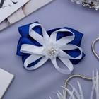 """Резинка для волос бант """"Школьница"""" 7 см, цветочек, синий"""