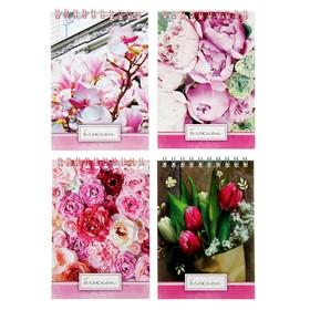 Блокнот А6, 40 листов на гребне Calligrata «Цветы», мелованный картон Ош