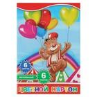 """Картон цветной А4, 6 листов, 6 цветов """"Мишка и воздушные шарики"""", односторонний мелованный"""