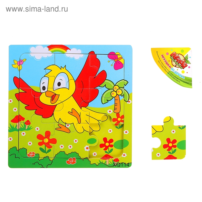 """Пазл """"Птичка"""", 9 элементов с цветным основанием"""