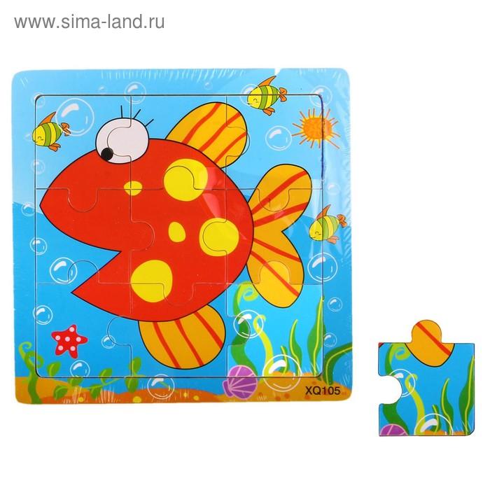 """Пазл """"Рыбка"""", 9 элементов с цветным основанием"""