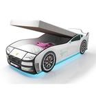 Кровать-машина «Турбо Белая с подъёмным матрасом» с подсветкой дна