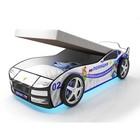 Кровать-машина «Турбо Полиция с подъёмным матрасом» с подсветкой дна и фар + пласт. колёса (2 шт)