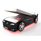 Кровать-машина «Турбо Чёрная с подъёмным матрасом» с подсветкой дна и фар + пласт. колёса (2 шт)