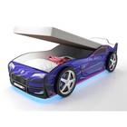 Кровать-машина «Турбо синяя с подъёмным матрасом» с подсветкой дна и фар + пласт. колёса (2 шт)
