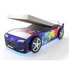 Кровать-машина «Турбо Синяя 2 с подъёмным матрасом» с подсветкой дна и фар + пласт. колёса (2 шт)