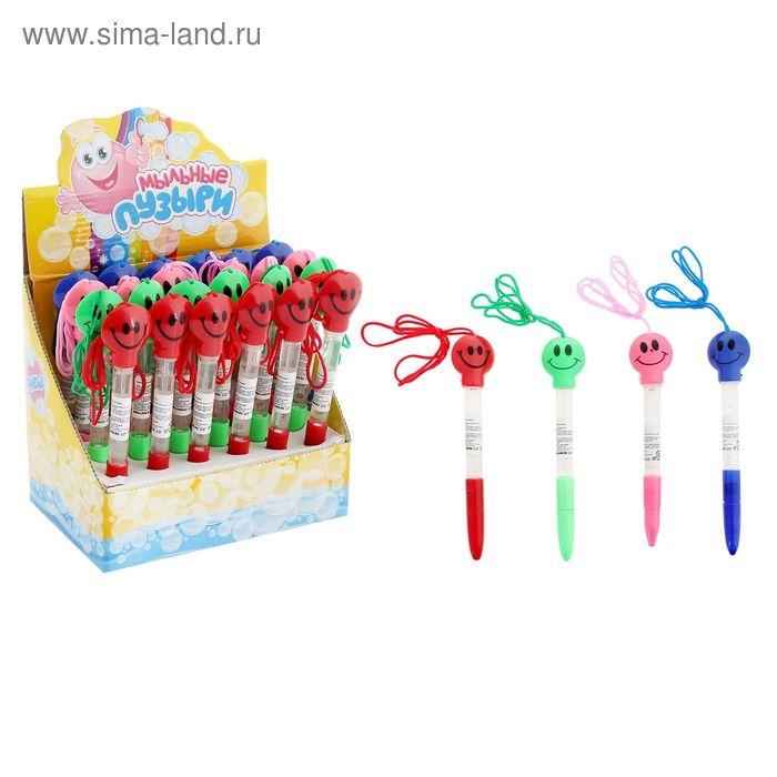 """Мыльные пузыри-ручки """"Смайл"""", на веревочке, 10 мл, МИКС"""