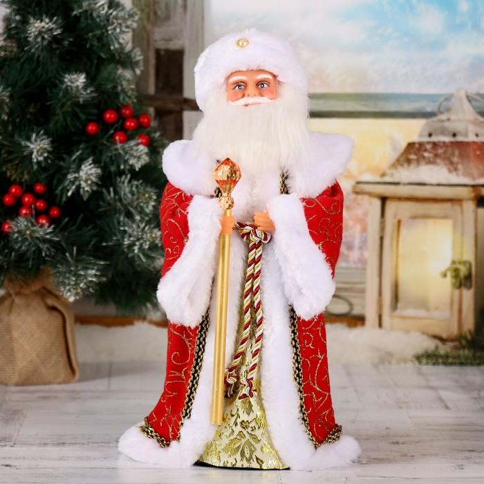 Дед мороз 38 см посох с кристаллом красный (рус мел)