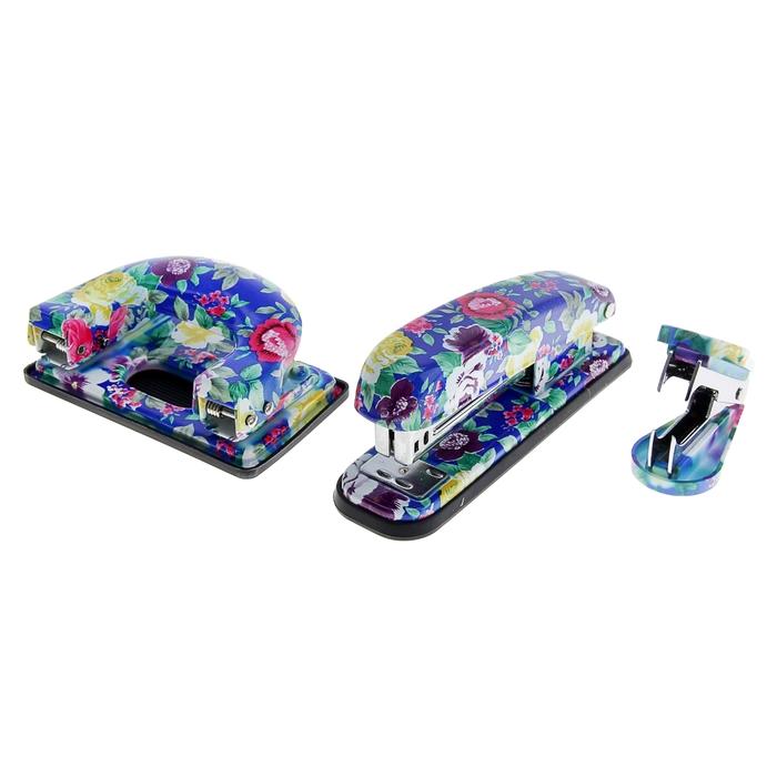 Степлер №24/6 до 20 листов+антистеплер+дырокол Цветочный МИКС в подарочной коробке