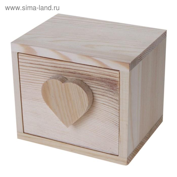 """Шкатулка для росписи """"Куб с сердцем"""""""