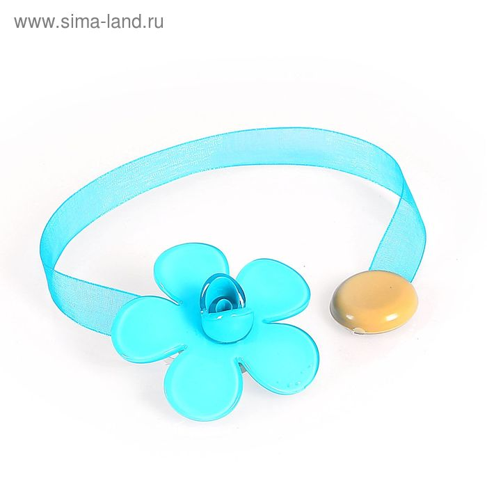 "Подхват для штор на ленте ""Цветок"", цвет голубой"