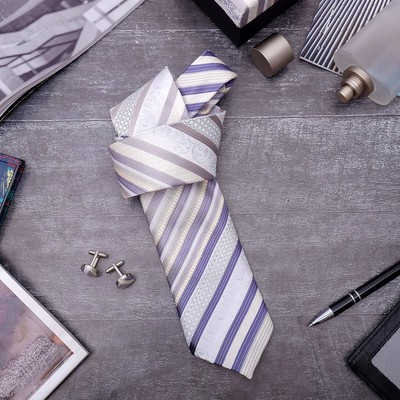 """Набор мужской """"Стиль"""" галстук 145*5см, запонки, полоски, цвет бежево-серый"""