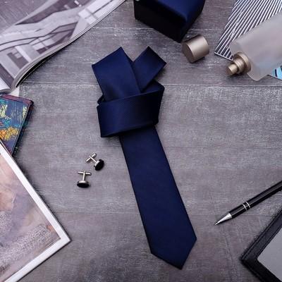 """Набор мужской """"Премьер"""" галстук 145*5см, запонки, тонкая полоска, цвет темно-синий"""