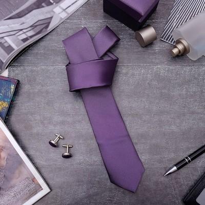 """Набор мужской """"Премьер"""" галстук 145*5см, запонки, цвет фиолетовый"""